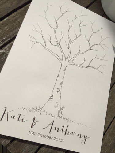 Personalised Ivory Finger Print Tree- a cute alternative guestbook!
