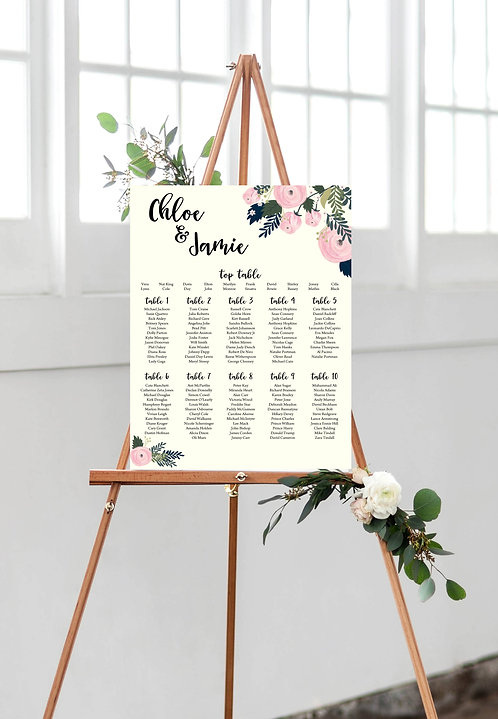 Chloe Floral elegant A1 Wedding Seating/Table plan