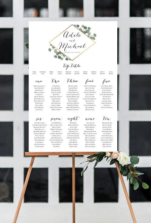 Adele Botanical Geometric A2 Wedding Seating/Table plan