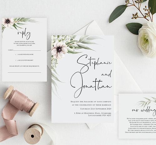 Stephanie Wedding Invitation sample including RSVP and wish card