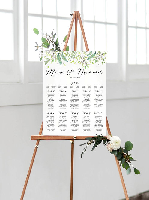 Maria Tuscan Rustic A2 Wedding Seating/Table plan