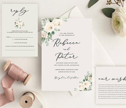 Rebecca Wedding Invitation sample including RSVP &Wish Card
