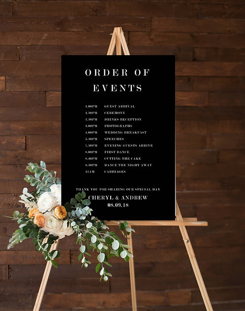 Personalised A3 Wedding Order of Events Guest information board