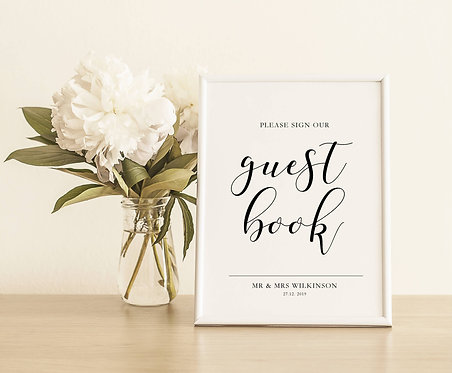 Personalised Unframed  A5 Wedding Sign-Guest Book