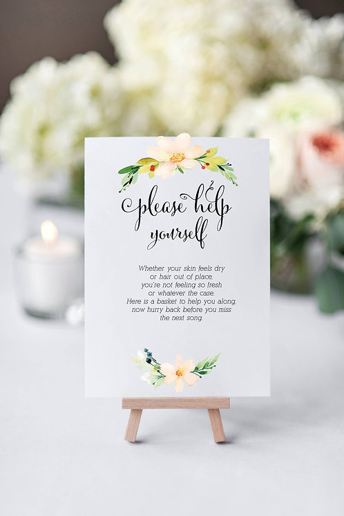 Floral Banner Wedding/Party Toiletries/Bathroom sign