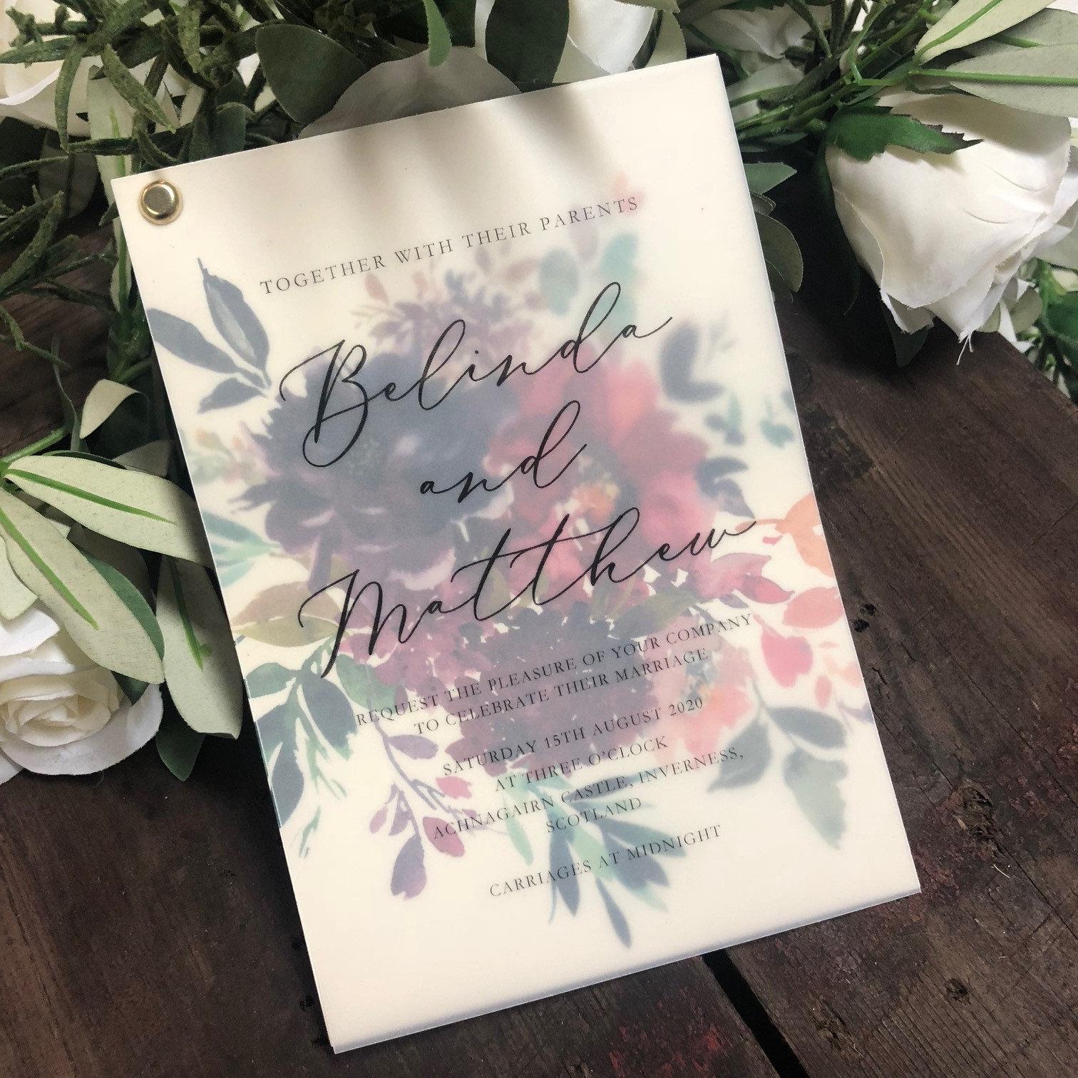 belinda vellum floral invitation card sample  floral