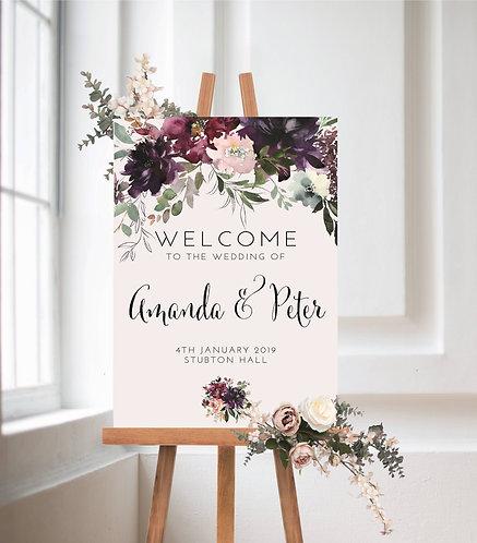 'Amanda' Wedding Welcome Wedding Sign