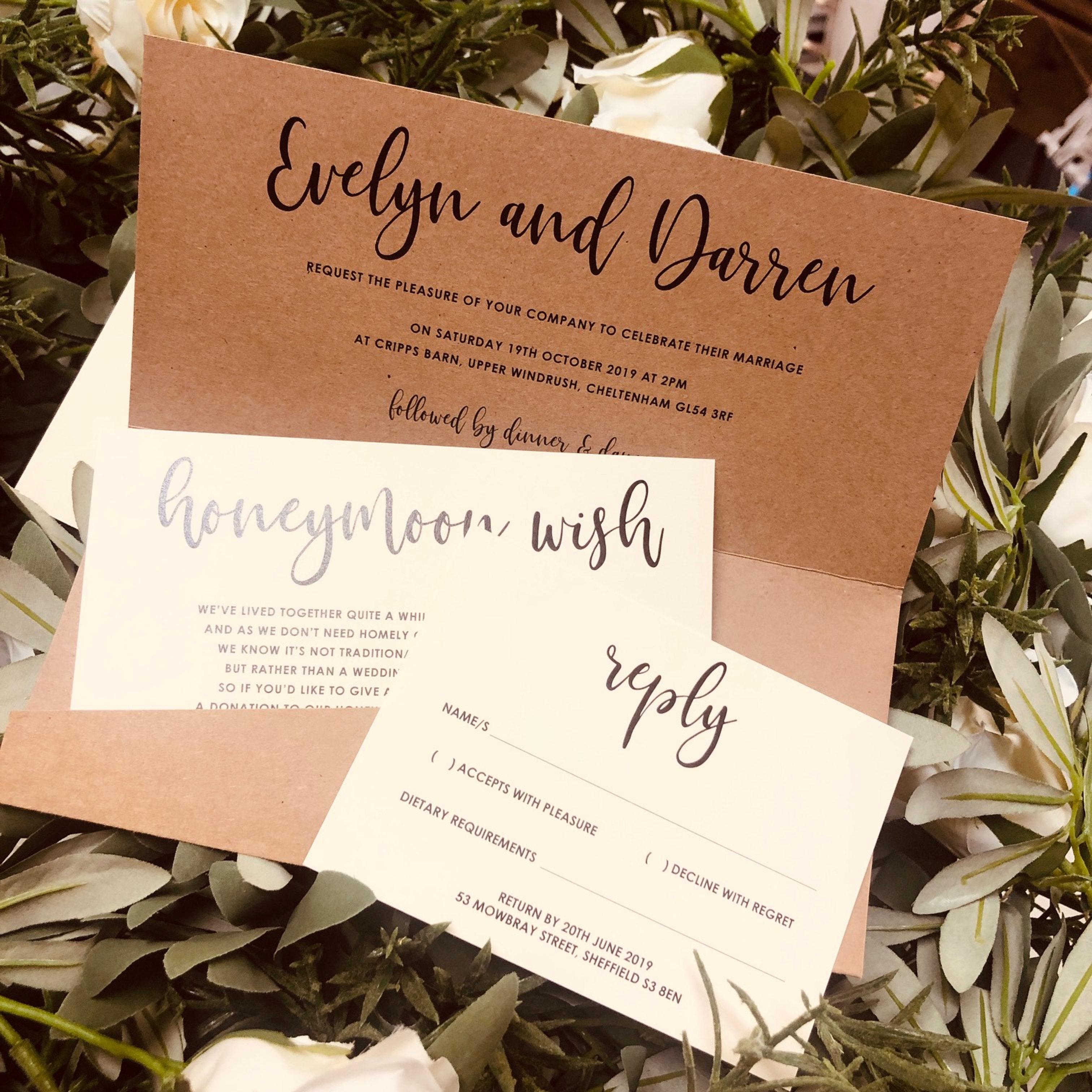 Evelyn Kraft Cream Pocket Wedding Invitation Rsvp Wish Sample