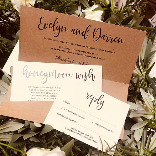 Evelyn kraft & cream pocket wedding invitation/RSVP/wish sample
