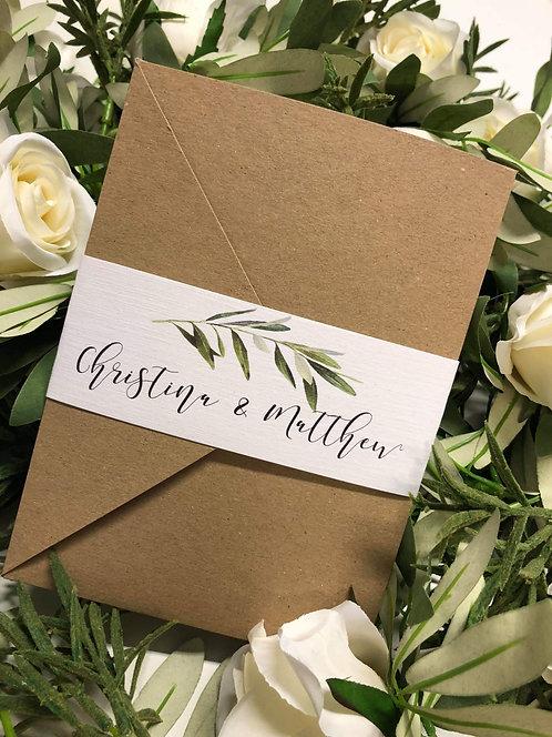 Christina Botanical pocket Wedding Invitation