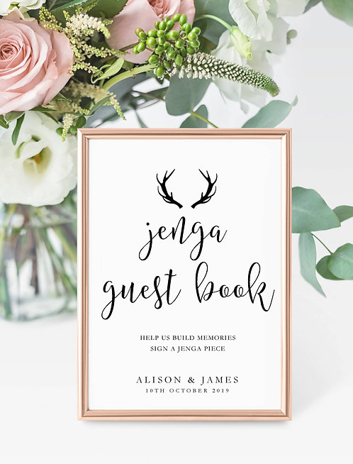 Antler design personalised 'Jenga Guest Book' sign-UNFRAMED