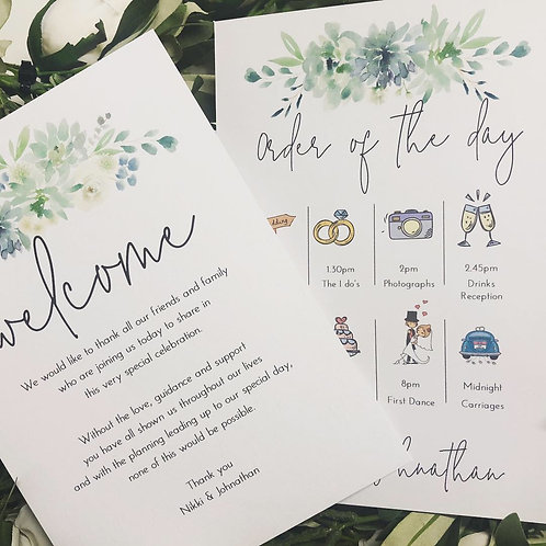 30 x A5 Personalised Wedding Welcome/Order of the Day Cards