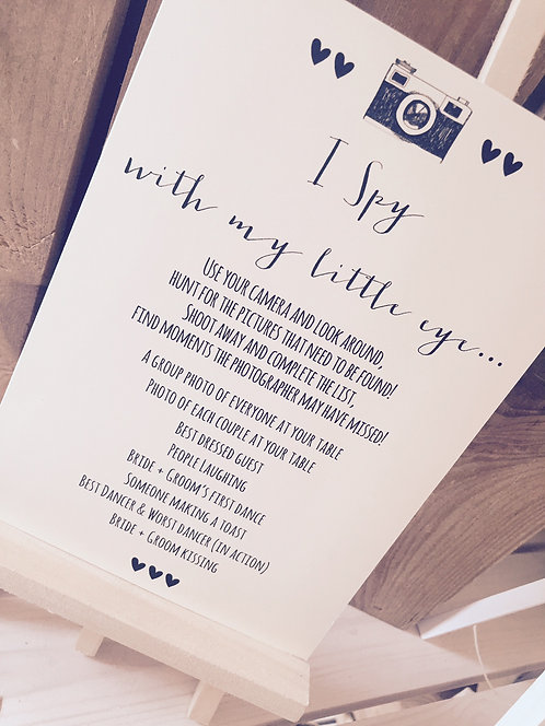 Rustic A5 Wedding 'I spy' camera challenge poster/sign