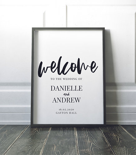Portrait A2 Danielle Wedding Welcome Sign