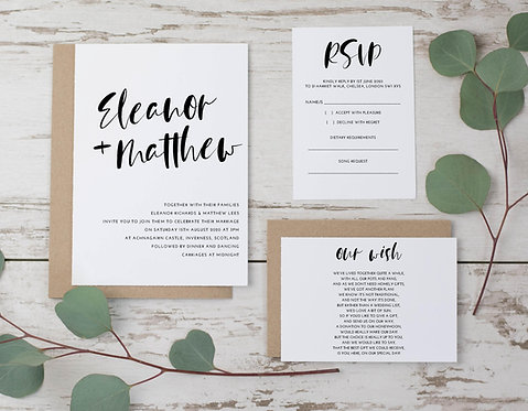 Eleanor Wedding Invitation, RSVP & wish card sample