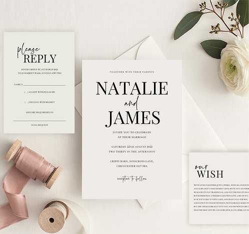 Natalie Wedding Invitation sample including RSVP and wish card