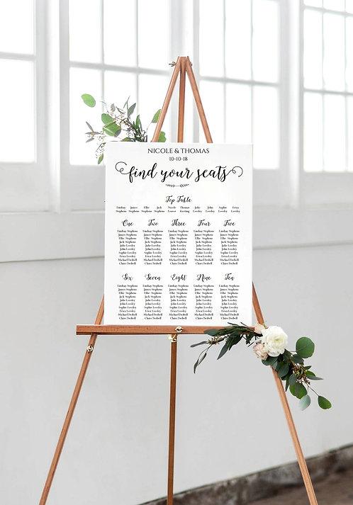 Nicole elegant A2 Wedding Seating/Table plan