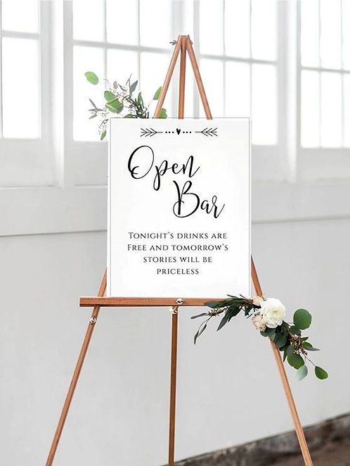 A3 Open Bar Wedding/Birthday/Event sign- UNBACKED