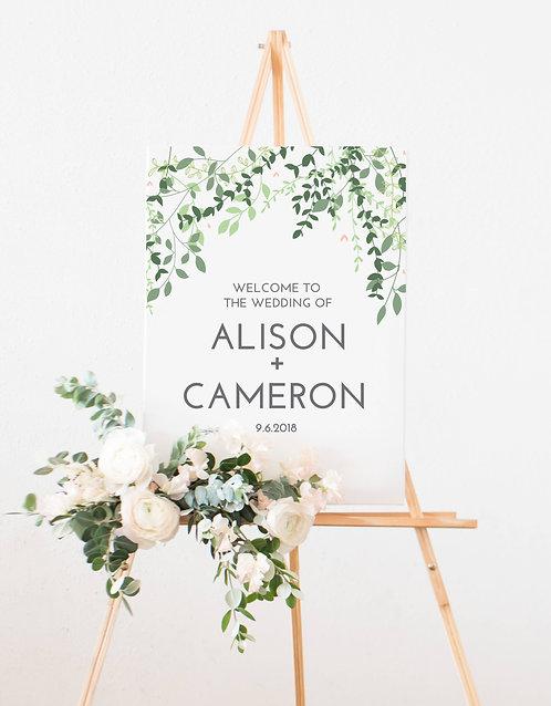 A2 Portrait 'Alison' Botanical Wedding Welcome Wedding Sign