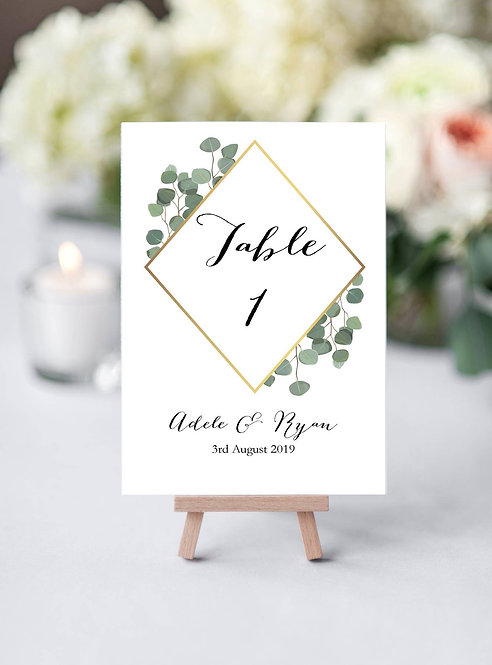 Adele double sided A5 size white linen single card table number