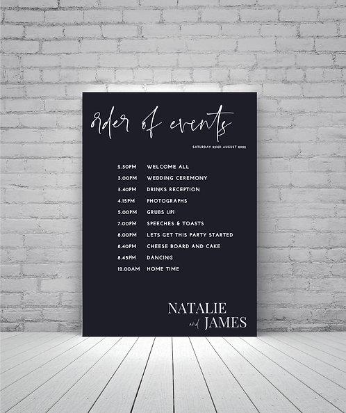 Natalie Portrait A1 Black with white text Wedding Time line/Order of Day Sign