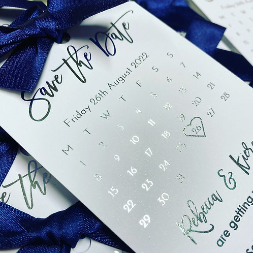 Luxury Foil printed (Gold or Silver) Calendar save the date tags with ribbon