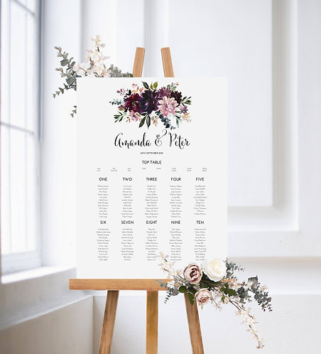 Amanda Floral A1 Wedding Seating/Table plan-unframed