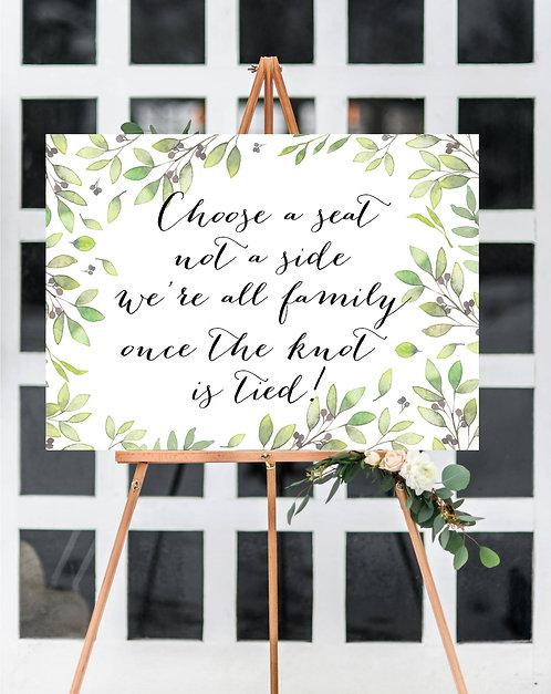 A3 unframed unbacked Maria leaf print 'Choose a Seat' sign