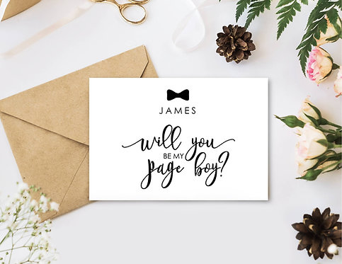 Will you be my Page Boy invite card with envelope