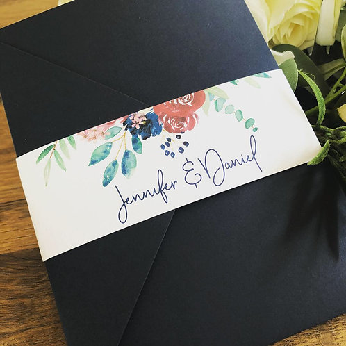Jennifer Floral Geometric pocket Wedding Invitation