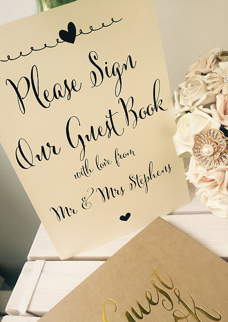 A4 Personalised Wedding/Anniversary/Party Guest Book Sign