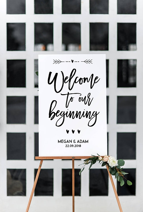 A3 unframed Welcome to our New Beginning Wedding Sign
