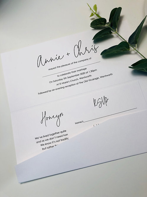 Annie Pocket Wedding Invitation sample with RSVP/wish card
