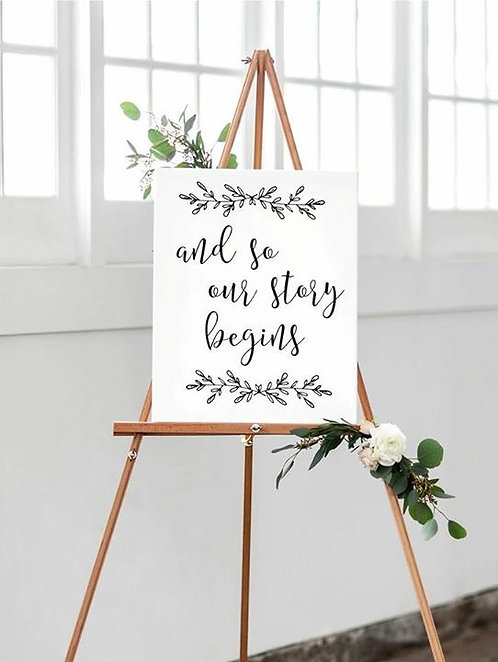 A4 'And so our Story Begins' white Wedding poster UNFRAMED