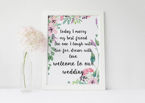 A3 unframed 'Today I marry my Best Friend' Welcome Sign