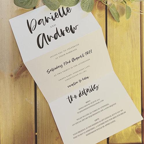 Tri-fold Modern bold font Invitation Sample & envelope, 'Danielle'