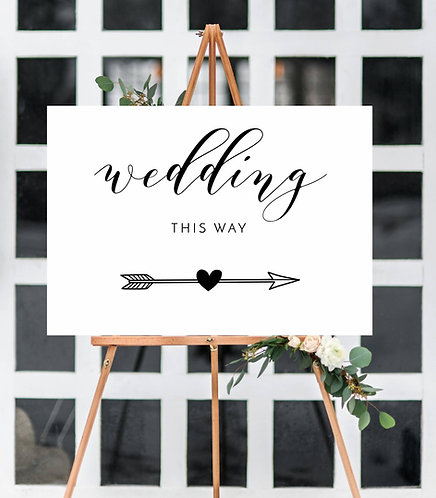 Arrow, Wedding this way white A1 wedding/Party sign