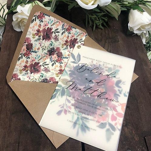 Belinda vellum floral invitation card SAMPLE & floral lined envelope