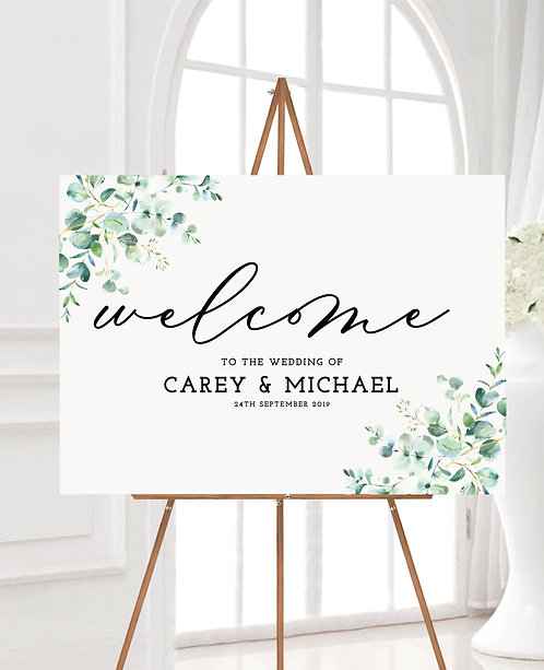 A1 landscape 'Carey' Wedding Welcome Wedding Sign