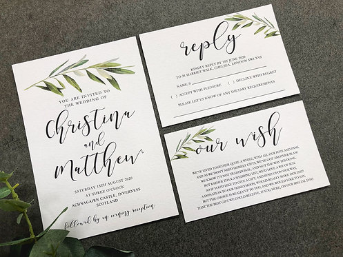 Christina botanical Wedding Invitation, RSVP & wish card