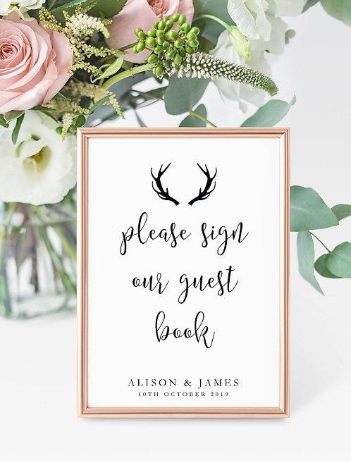 Antler design personalised 'Guest Book' sign-UNFRAMED
