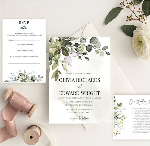 Olivia Wedding Invitation sample including RSVP and wish card