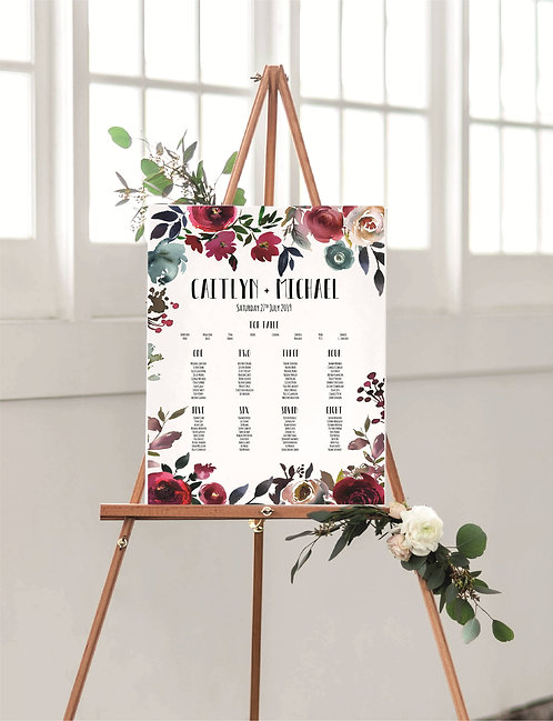 Caitlyn A1 Wedding Seating/Table plan