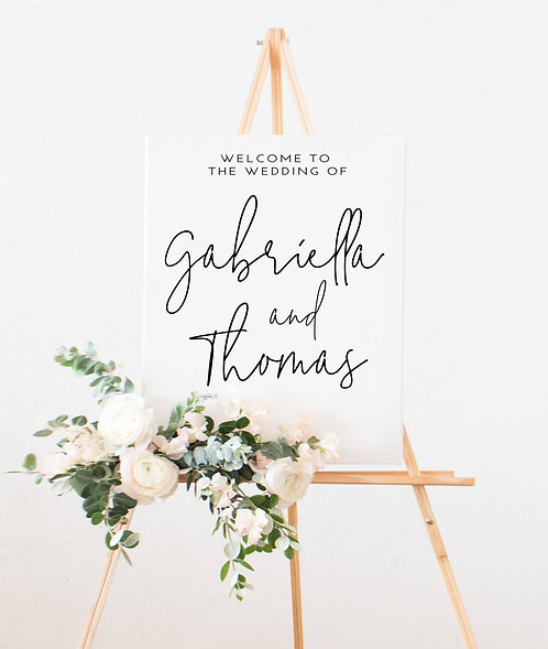 A1 Portrait 'Gabriella' Wedding Welcome Wedding Sign