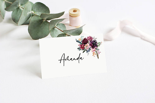 6 x Personalised Amanda Floral Rectangle Place Name Cards