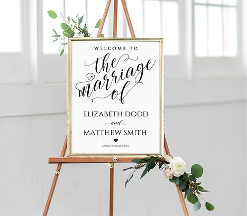 A3 Personalised Portrait Wedding Welcome Poster -3 colours-UNBACKED/UNFRAMED
