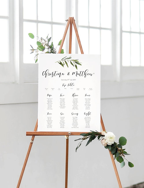 Christina botanical A2 Wedding Seating/Table plan