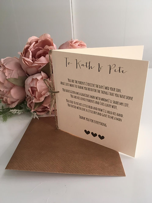 'To My in-laws' wedding Day Poem Card - from the Bride