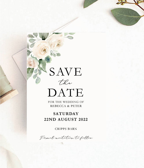 Floral, Rebecca Save The Date Sample