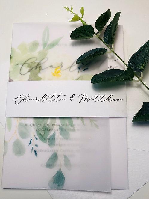 Charlotte vellum floral invitation white card set SAMPLE